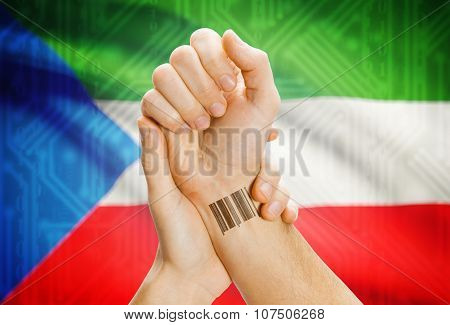 Barcode Id Number On Wrist And National Flag On Background - Equatorial Guinea
