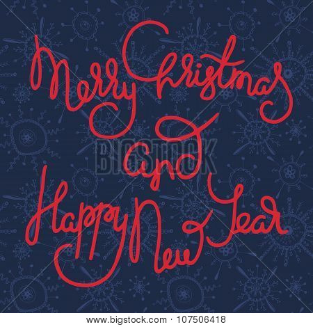 Cute xmas greeting card with red lettering