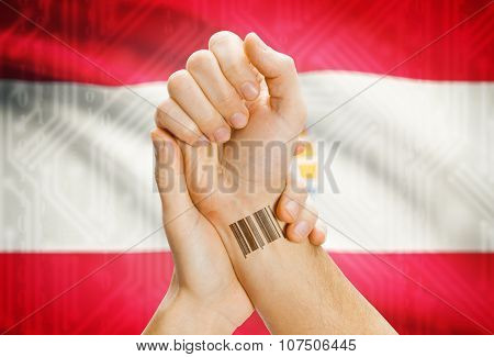 Barcode Id Number On Wrist And National Flag On Background - French Polynesia