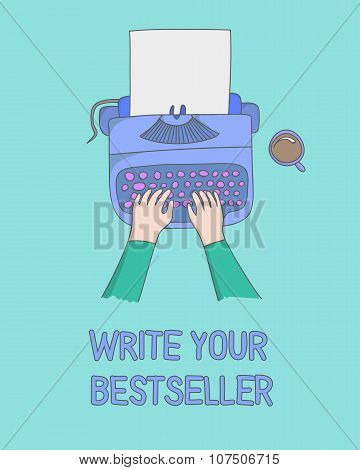 author hands typing