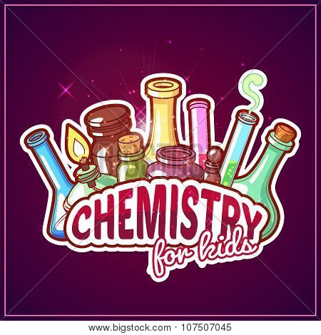 Chemistry Title With Chemical Flasks On A Dark Background