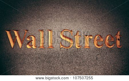 Wall street sign in downtown Manhattan New York City