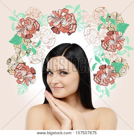A Portrait Of A Smiling Beautiful Brunette. The Sketch Of Different Flowers Is Drawn On The Light Pi