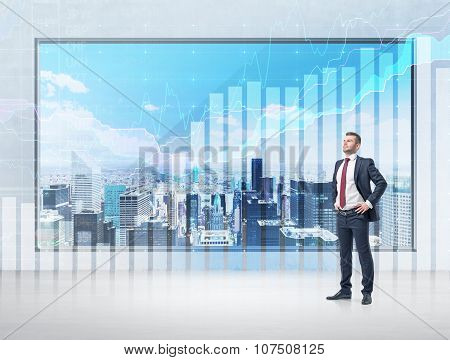 A Confident Businessman With His Hands On The Waist And A Panoramic Poster With New York Panoramic V