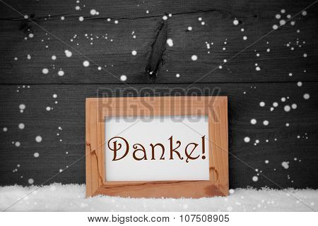 Picture Frame With Danke Means Thank You, Snow, Snowflakes