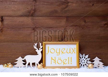 Card, Snow, Joyeux Noel Mean Merry Christmas