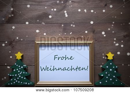 Frame With Frohe Weihnachten Means Merry Christmas, Snowflakes