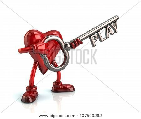 Heart And Silver Key With Word Play