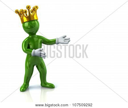 Green Cartoon Character Man With Crown Presenting Something