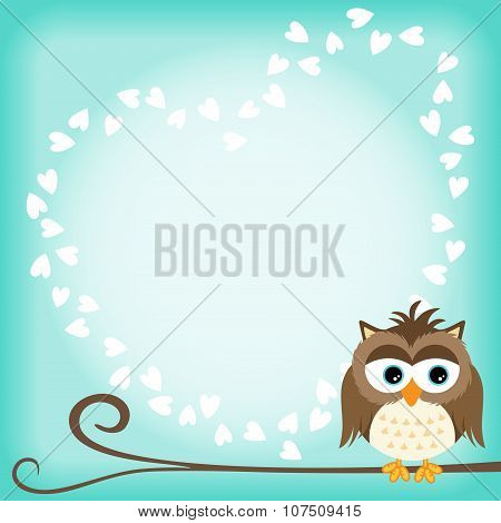 Owl scrapbook layout with heart