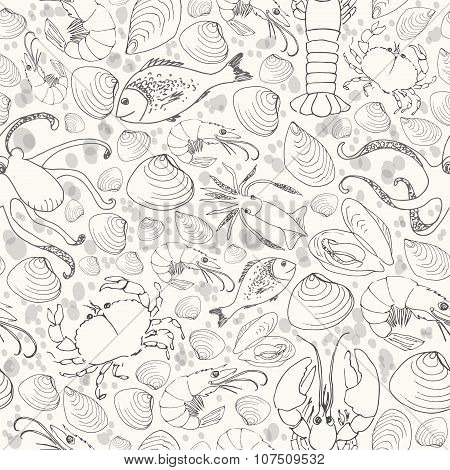 Vector Seafood Seamless Pattern