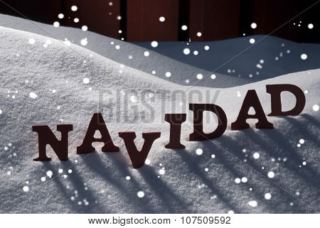 Card With Snow And Word Navidad Mean Christmas, Snowflakes