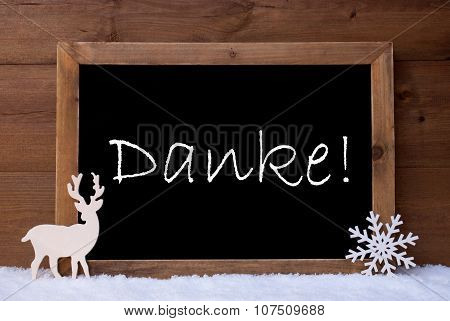 Christmas Card, Blackboard, Snow, Reindeer, Danke Mean Thank You