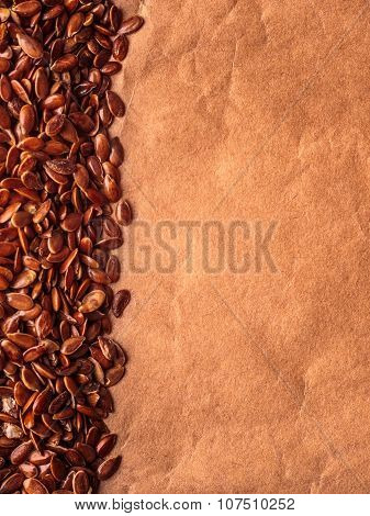 Brown Raw Flax Seeds Linseed Border Frame