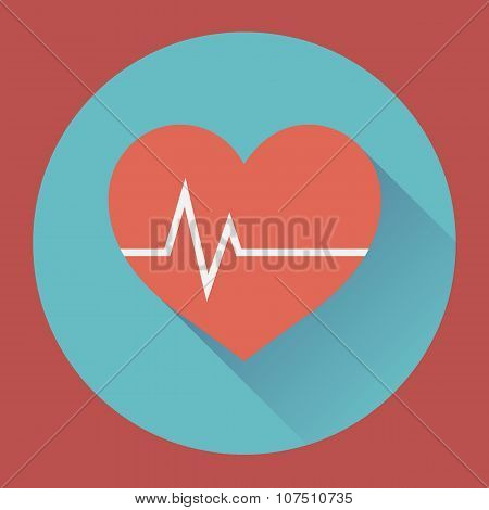 Heart rhythm and cardiogram. medical flat icon