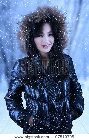 Attractive Female Model With Winter Clothes