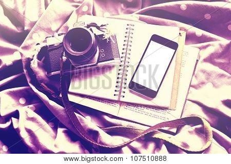 Blank Smartphone Screen With Diary, Old Style Photo Camera And Book On Dot Scarf, Mock Up