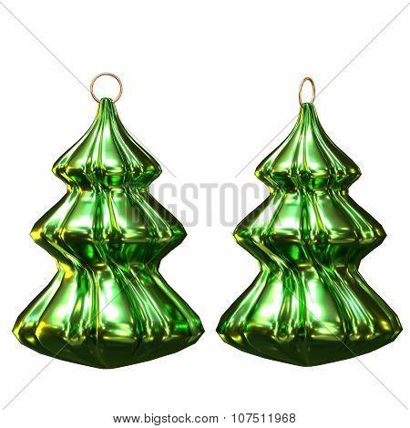 Isolated Shiny Christmas Tree Decoration