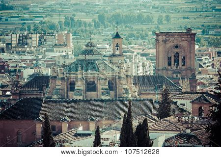 Cathedral And City Centre Seen From The Castle, Granada, Granada Province, Andalucia, Spain, Western