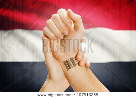 Barcode Id Number On Wrist And National Flag On Background - Yemen