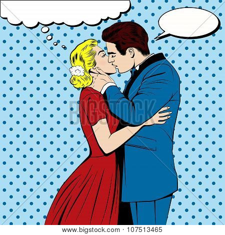 Vector kissing couple in the pop art comics style