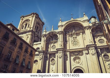 Facade Of The Renaissance Cathedral, Granada, Andalusia, Spain