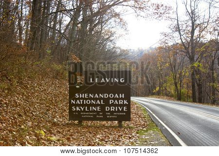 Leaving Shenandoah Skyline Drive Sign