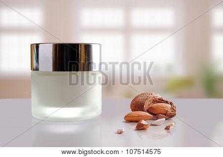 Almond Moisturizer Cream Jar Closed Windows Background