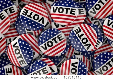 American flag inspired vote buttons for supporters during the presidential elections in the United States