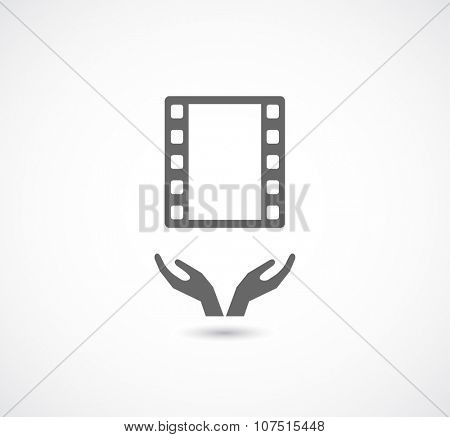 hands care and support film strip icon