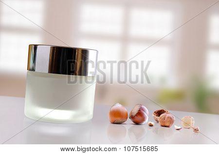 Hazelnuts Moisturizer Jar Closed Windows Background Diagonal And Horizontal Composition
