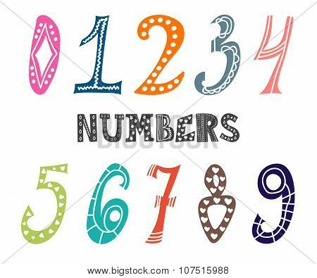 Collection Of Cute Colorful Numbers. Numbers Set