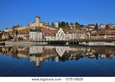 Schaffhausen Mirroring In The River Rhine