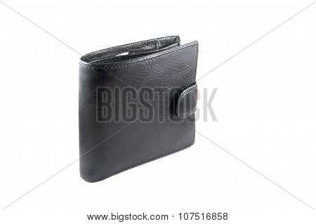 Lather wallet on white background