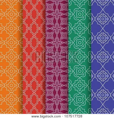 Set of Arabic geometric seamless patterns. Ethnic modern backgrounds in Islamic style