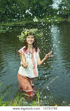 Girl  In Flower Chaplet At River