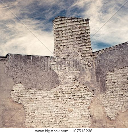 abandoned grunge cracked brick stucco wall