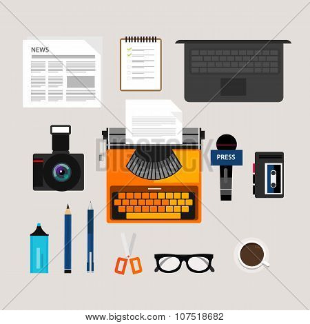 journalist press icon objects isolated vector camera type writer laptop microphone interview recorde