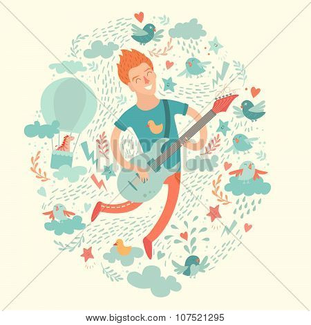 Guitarist cartoon hipster playing guitar on a colorful background