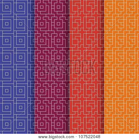 Set Of Repeating Geometric Background. Vector Seamless Patterns