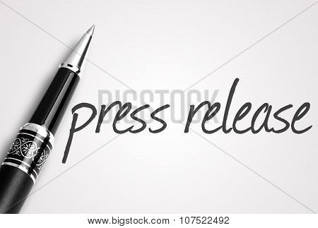 Pen Writes Press Release On White Blank Paper
