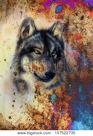 Wolf painting, color abstract effect on background