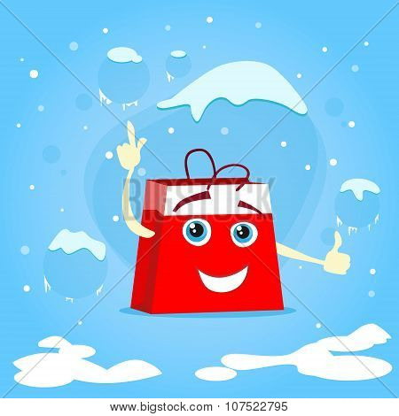 Red Shopping Bag Cartoon Character Show Point Finger Up Gesture