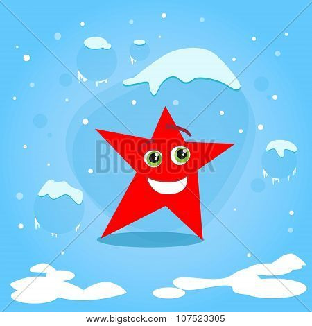 Christmas Red Star Cartoon Character Concept