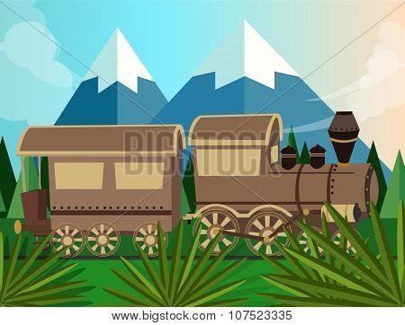 old train steam vector locomotive cartoon in jungle green illustration