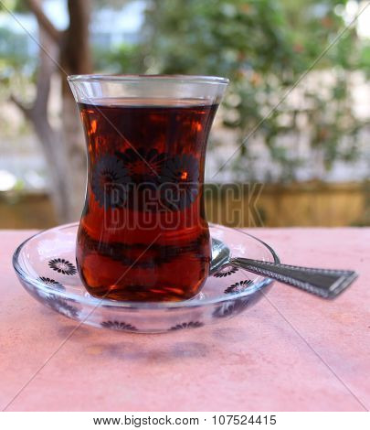 Turkish national tea in glass tea cup