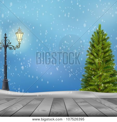 Christmas tree and lamp post on winter background