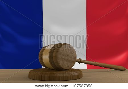 France law and justice system with national flag
