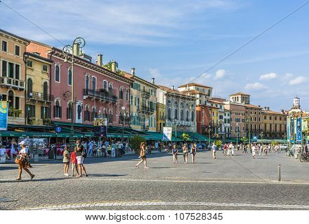 People Enjoy Walking At Piazza Bra In Verona
