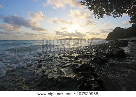 Sky, Sea And Rocks On The Beach